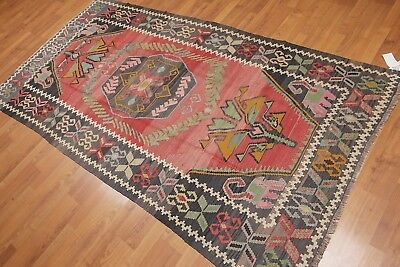 "4'2""x 8' Vintage Hand Woven Southwestern Tribal Turkish Kilim 100% Wool Area Rug"