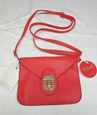 Isabelle Handbag Crossbody Small Purse Pouch Vegan Leather Hot Red New With Tag