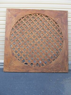 Large hand carved square wood wall panel