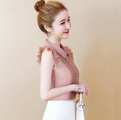 Fashion Summer Women Chiffon Ruffle Sleeveless Slim Button Down Shirt Blouse Top