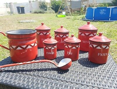 Antique Vintage French Enamel 8 Piece Canister Set  White red  stripe
