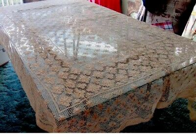 "1920~30s Handworked Irish Filet Lace BANQUET TABLECLOTH~Cream~80"" x 63""! 💐💐"