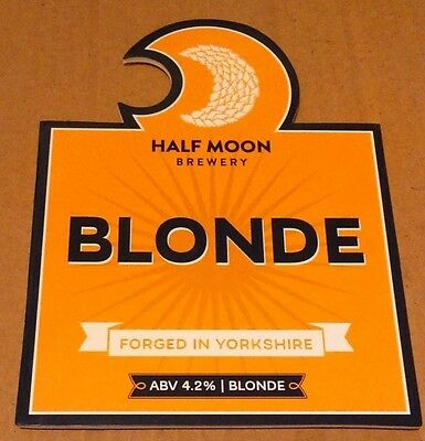 Beer pump badge clip HALF MOON brewery BLONDE cask ale pumpclip front Yorkshire