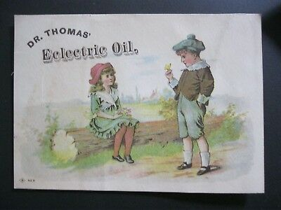 Victorian Trade Card 1800's Dr Thomas Eclectric Oil Boy Catches Butterfly 13