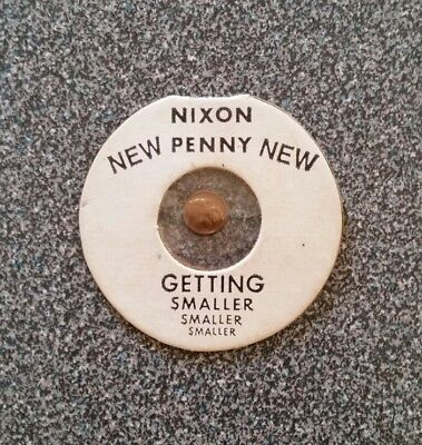 """Early 1970s """"Richard Nixon Penny...And Getting Smaller"""" 1/4"""" Mini Novelty Coin"""