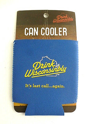 Drink Wisconsinbly Beer Can Koozie Blue It's Last Call Again NEW