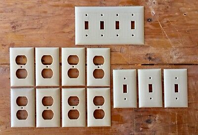 Vintage IVORY Outlet Switch Wall Cover Plate Ribbed Bakelite 'Sierra Electric'
