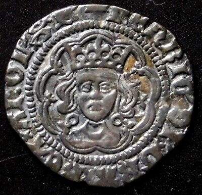 King Henry VI of England. Half Groat Twopence. 1422-1430. English Silver Coin.