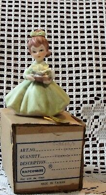 Vintage Napco ware March Birthday Figurine Pony Tail Girl NWT #8614