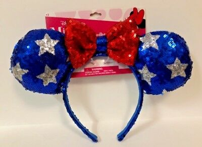 Disney Minnie Mouse Ear Headband Blue Silver Red Patriotic July 4th Bow & Stars