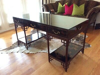 Maitland Smith Vintage Chinese Chippendale Bamboo Laquer Desk