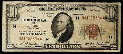 1929 $10.00 National Currency, Federal Reserve Bank, St. Louis, Missouri!