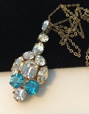 Beautiful Vintage Art Deco Aquamarine And Clear Crystal Pendant Necklace