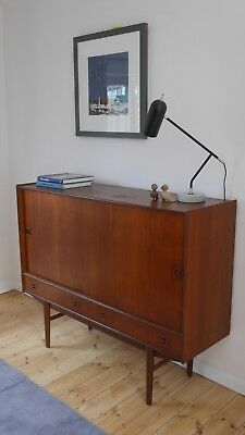 Mid Century Teak Highboard Cabinet with internal shelves drawers