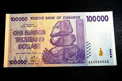 """ZIMBABWE """"UNC"""" $100,000 ONE HUNDRED THOUSAND DOLLARS NOTE ~ BIDS FROM ONLY 99p"""