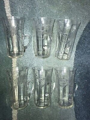 Six Antique Blown Glass Drinking Glasses with Handles - Etched with Flowers