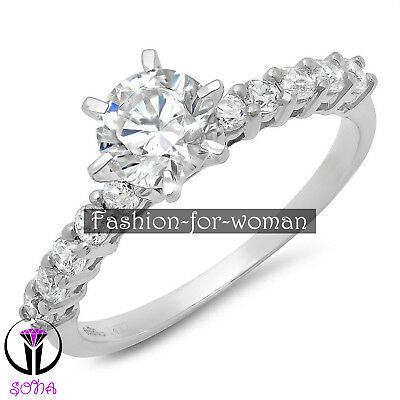 1.20Ct VVS1 Round Cut DIAMOND 14K WHITE GOLD Promise Woman Ring Engagement DIANA