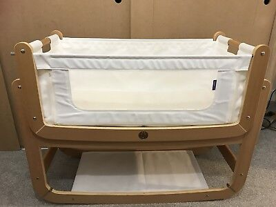 Snuz Pod 2 bedside 3 in 1 crib, natural wood colour. Very Good Condition