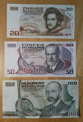 Austria 3-Banknote Lot 100, 50 & 20 Schilling 1984, 1986 & 1986 respectively