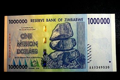 """ZIMBABWE """"WELL USED"""" $1,000,000 ONE MILLION DOLLARS NOTE ~ BIDS FROM ONLY 1p"""