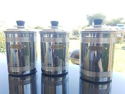 Antique Vintage French copper 3 Piece Canister Set stamped