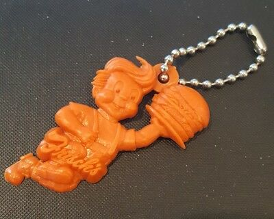 Vintage 70s Frisch's Big Boy Key Chain fob charm orange plastic