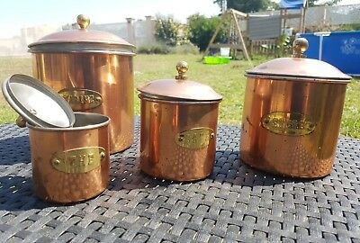 Antique Vintage French copper 4 Piece Canister Set stamped