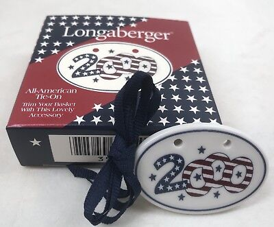Longaberger 2000 All American Tie-On Red White Blue Stars Stripes NIB
