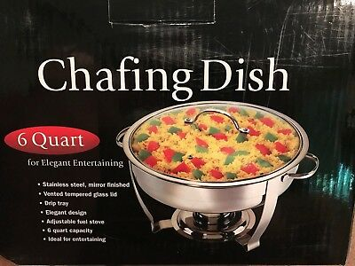 6 quart chafing dish new in box 7 piece set glass lid