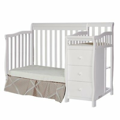 Dream On Me 4-In-1 Mini Convertible Crib And Changer, White