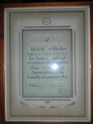 Imperial oil co 1948.10 years  service station award,gas,plaque,petroleum  11