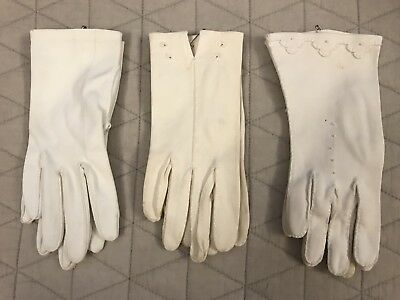 Vintage Women's Glove Collection Lot of 3 Pairs, Small, Fabric, White, Wrist