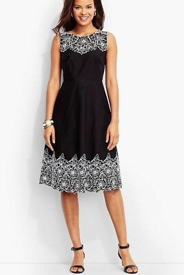 dd7626d8bf0dd $189 Nwt Talbots Ladys Cotton Embroidered Lace Trim Event Black Dress Size 2