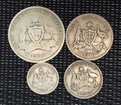 1910 3d threepence, 6d sixpence, one shilling and florin **35