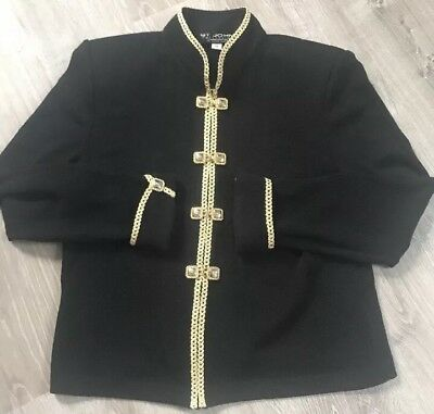St. John Collection By Marie Gray Size 10 Black / Gold Jacket