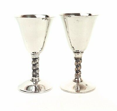 Superb VINTAGE 2 x SILVER PLATED ORNATE CHAMPAGNE / WINE GOBLETS CUPS CHALICES
