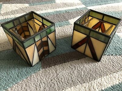Set of 2 PartyLite Artisan Votive Holders Arts & Crafts Craftsman Stained Glass