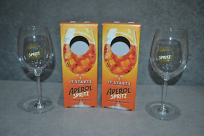 Pair Of Aperol Spritz Large Glasses Glass Bowl Goblet In Box 2 Two Brand New