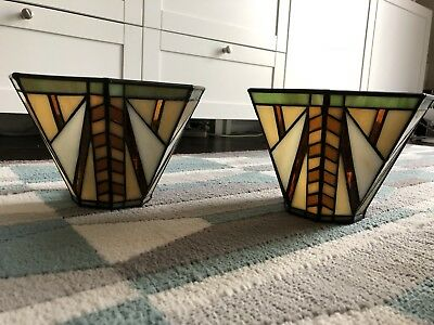 Set of 2 PartyLite Artisan Wall Sconces Arts & Crafts Craftsman Stained Glass