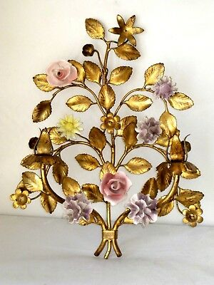 "15"" Vintage Italian Gilded Tole Iron & Porcelain Flowers Sconce Wall Hanging"