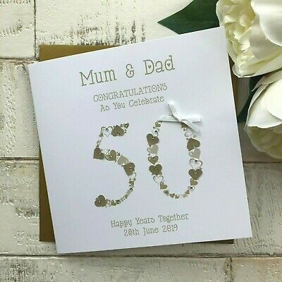 Handmade Personalised 50th Golden Wedding Anniversary Card Mum Dad Nan Grandad