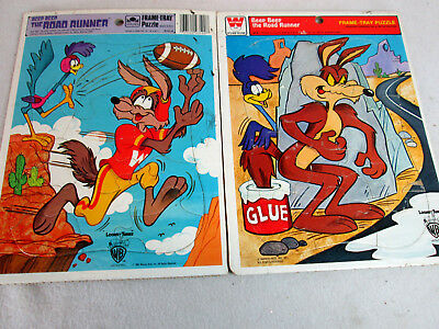 Vintage lot of 2 Road Runner frame-tray puzzles by Whitman & Golden 1977 1983