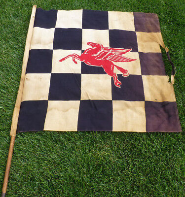1950s Mobil Oil Original Speedway Race Racing Checkered Flag with Pegasus Horse