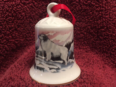 Porcelain Winter Design Bell with Dog - Great Pyrenees