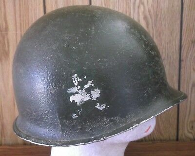 WWII U.S. Army Front Seam 509th Airborne M-1 Helmet Fixed Bale.