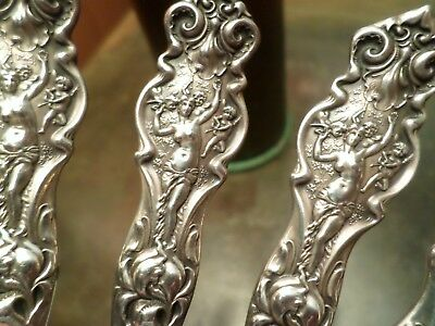 4 Antique Art Nouveau Figural Angel Putti Sterling R. Wallace Ice Cream Fork