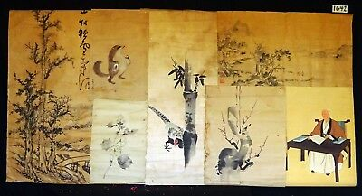 7x 19C/20C Japanese Mixed Lot Paintings, Drawings, Calligraphies (HMA) #1642