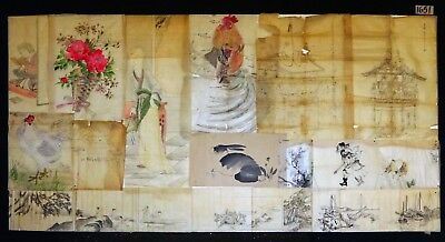 13x 19C/20C Japanese Mixed Lot Paintings, Drawings, Calligraphies (HMA) #1651