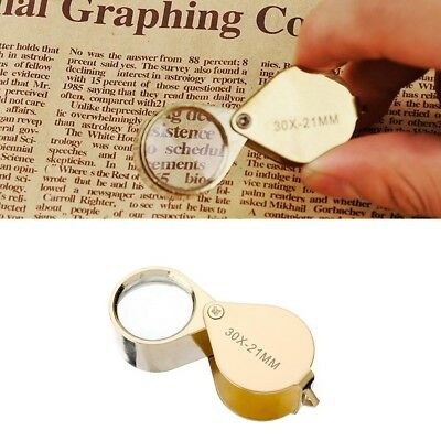 1Pcs Jewelers Magnifying Loupe 30x Zoom Golden Jewelry Magnifier Eye Glass New.