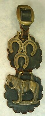 Worn Vintage Leather Horse Bridal Medallions, Buckle, Good Old Piece